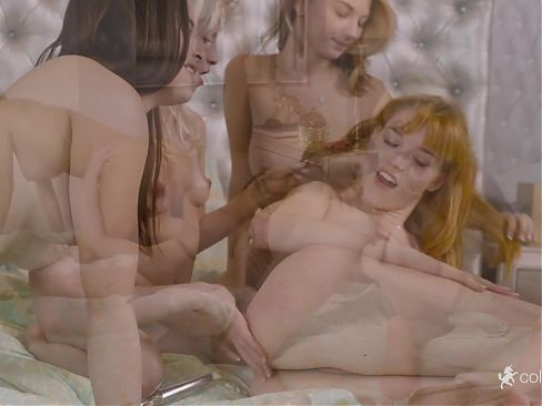A lesbian sex session with young babes and sextoys